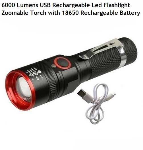 Bright 6000LM XML-T6 LED Flashlight USB Rechargeable Lantern Zoomable Torch